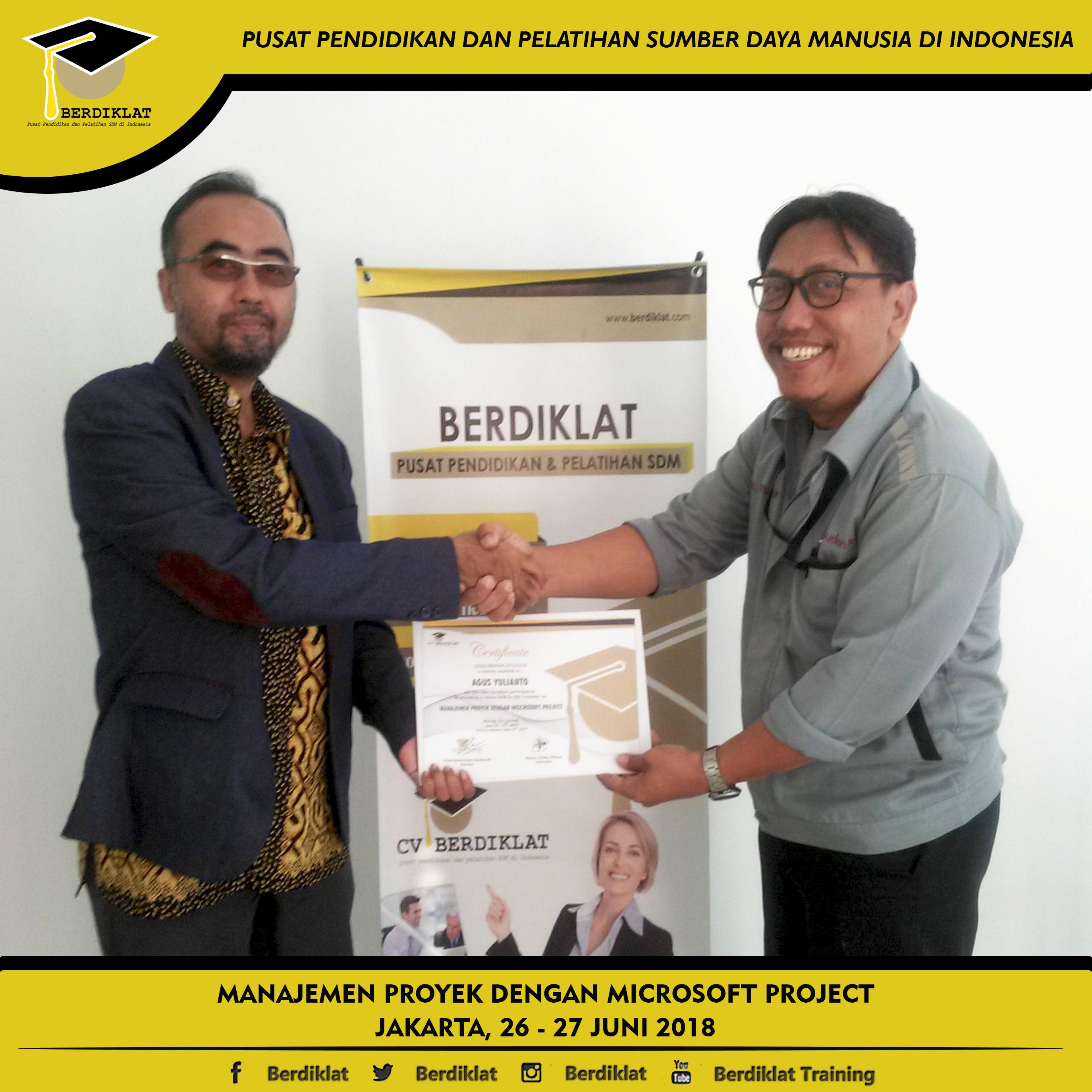 MANAJEMEN PROYEK DENGAN MICROSOFT PROJECT Jakarta, 26 - 27 Juni 2018 Berdiklat sd